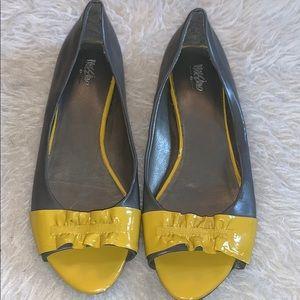 Mossimo Peep Toe Flats Gray and Mustard Sz 10